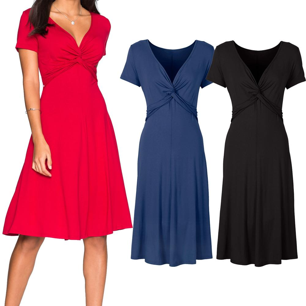 Women's Vintage V Neck Cross <font><b>Sexy</b></font> <font><b>Short</b></font> Sleeve Cocktail Party Causal Work <font><b>Dress</b></font> 2019 Women <font><b>Red</b></font> Black Nave Blue <font><b>Dress</b></font> Female image