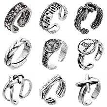 Punk retro alfabeto prata moeda anel na moda prata cor geométrica relógio padrão abertura anel ajustável hip-hop jóias para homem