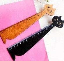 1pcs/lot Vintage Cute Miranda Cat Wooden Ruler bookmark 15 CM wood straight ruler Students DIY Material Escolar