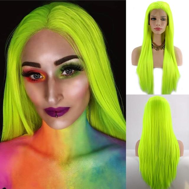 Lvcheryl naturalny długi jedwabisty prosto neonowy żółty kolor żaroodporna syntetyczna koronka przodu peruki na imprezę cosplay makijaż peruki