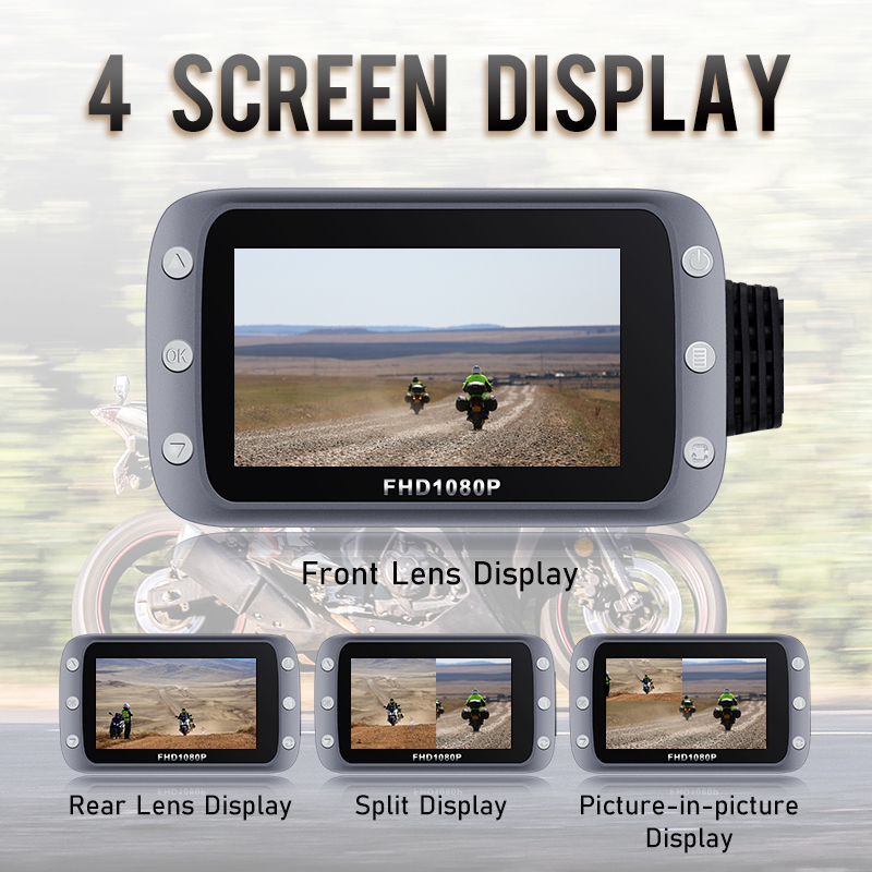 GreenYi WiFi Motorcycle DVR Dash Cam 1080P+1080P Full HD Front Rear View Waterproof Motorcycle Camera GPS Logger Recorder Box 3