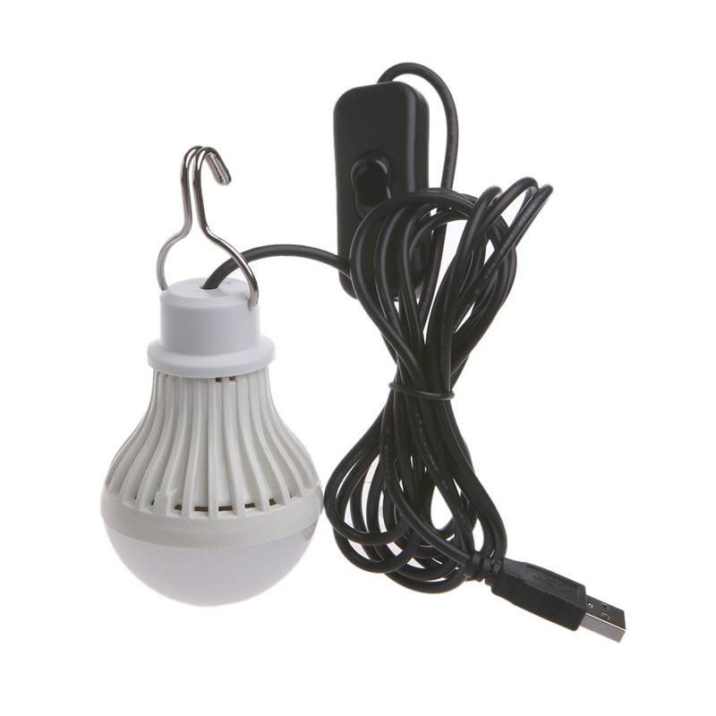 Portable USB LED Light Bulb Switch LED Camping Lantern Tent Lighting 5W Drop Ship Support