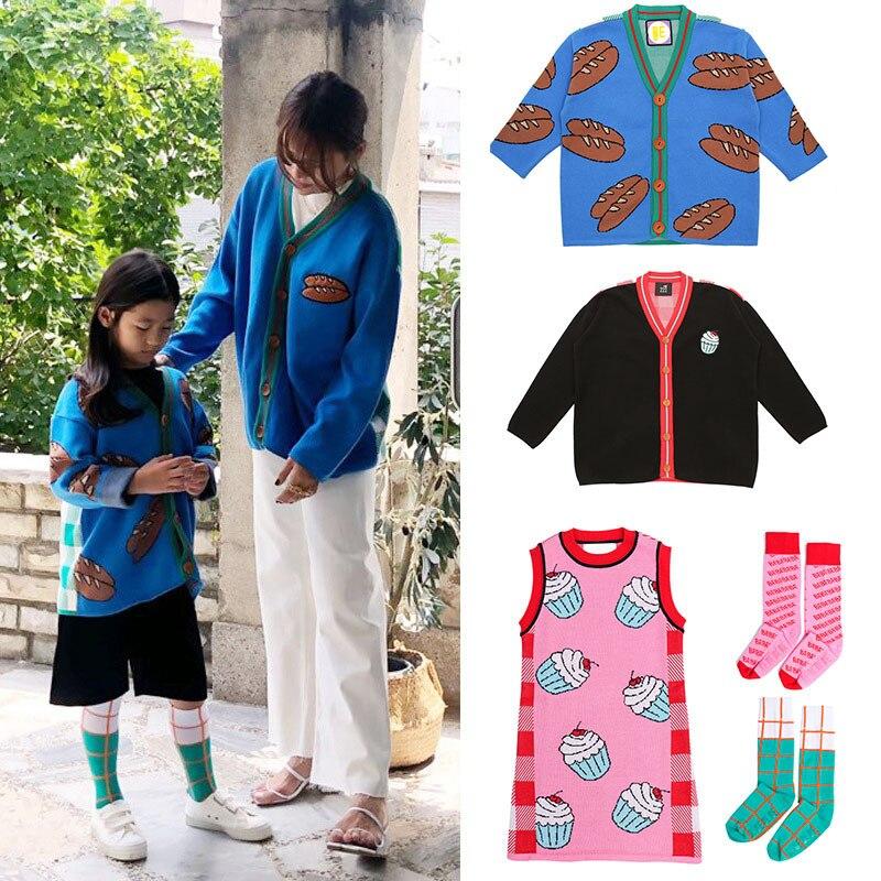 EnkeliBB Bebe; корейский Детский Зимний вязаный кардиган; Одинаковая одежда для мамы и дочки; Брендовое вязаное пальто для девочек; Модные топы для малышей