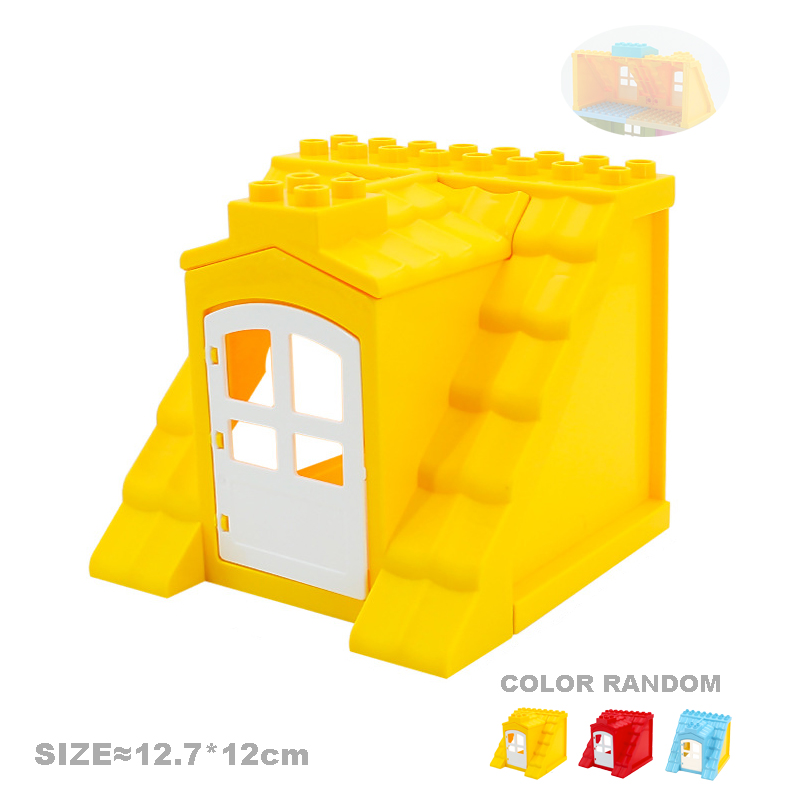 Big Particles Building Blocks House Parts Accessory Window Wall Roof Construction Assemble Diy Brick Educational Toys For Kids