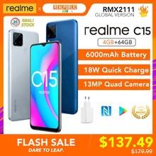Realme c15 versão global 4gb ram 64gb rom helio g35 6000mah bateria 13mp ai quad câmeras multi idioma play store