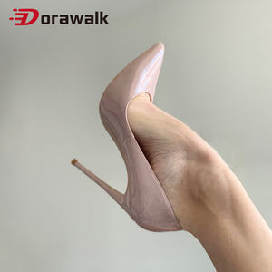 2020 Women Classic Pumps Extreme High Heels 12 10 8 cm Sexy Stilettos Ladies Pointed Toe Shoes Nude Leather Heels Big Size 12 11