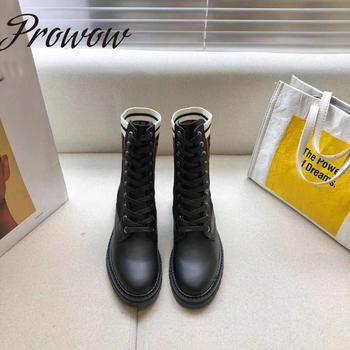 Prowow Genuine Leather Round Toe  Lace Up Ankle Boots Knitted Letters Thick Heel Low Heel Luxury Boots Botas Mujer prowow new high quality genuine leather lace up women winter boots sexy platform boots chunky heel boots botas mujer