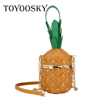 TOYOOSKY Pineapple Shape Pu Leather Fashion Women Party Tote Bag Shoulder Bag Chain Purses and Handbags Crossbody Bag cute weaving and round shape design tote bag for women