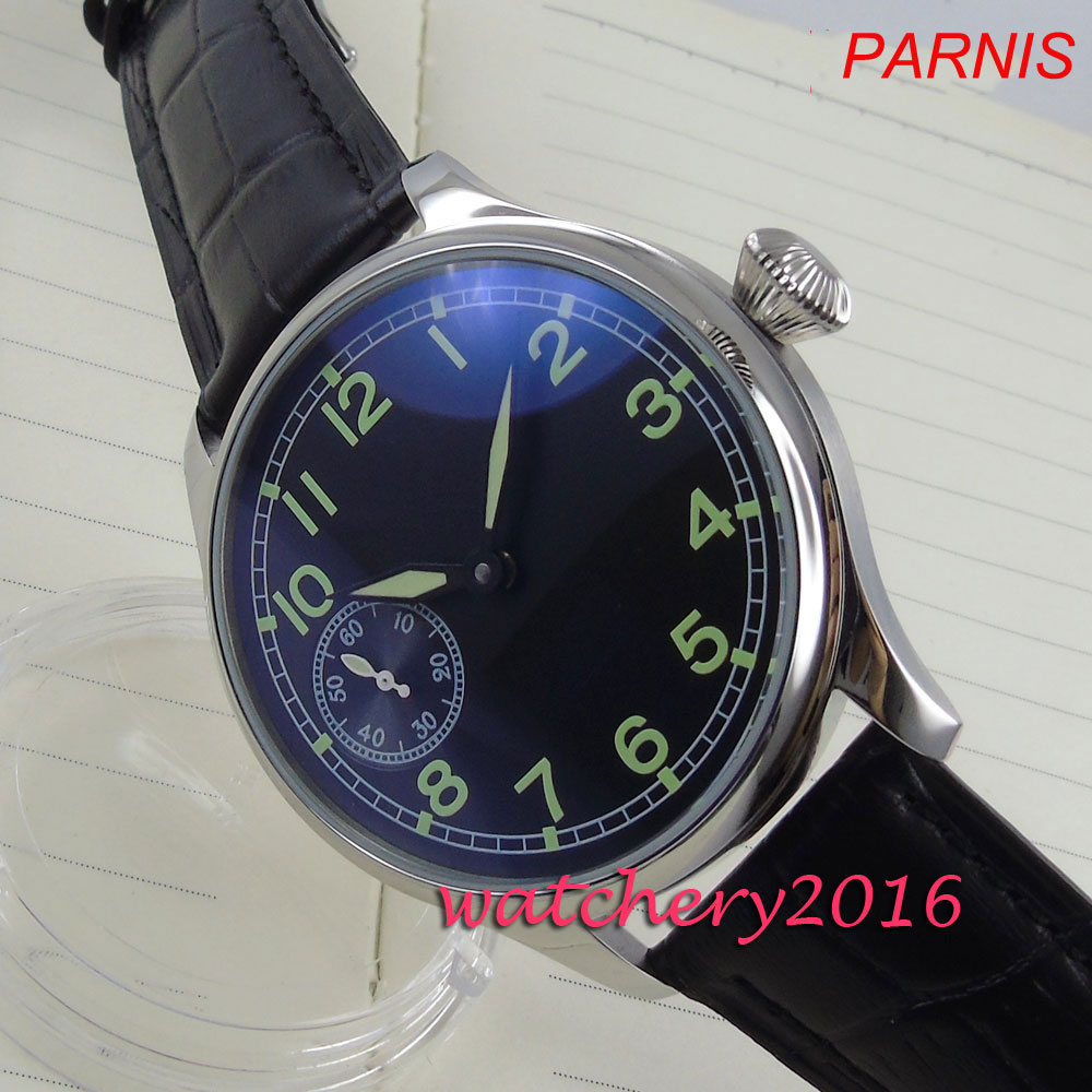 Parnis Men's Watches Mechanical Movement Dial-6497 Hand-Winding Black Luxury Brand The title=