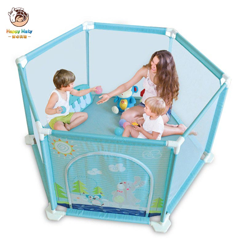 Happymaty Baby Game Playpen Safety Fence Barriers Ball Pool For Children Kids Cartoon Tent Indoor Fence Portable F06