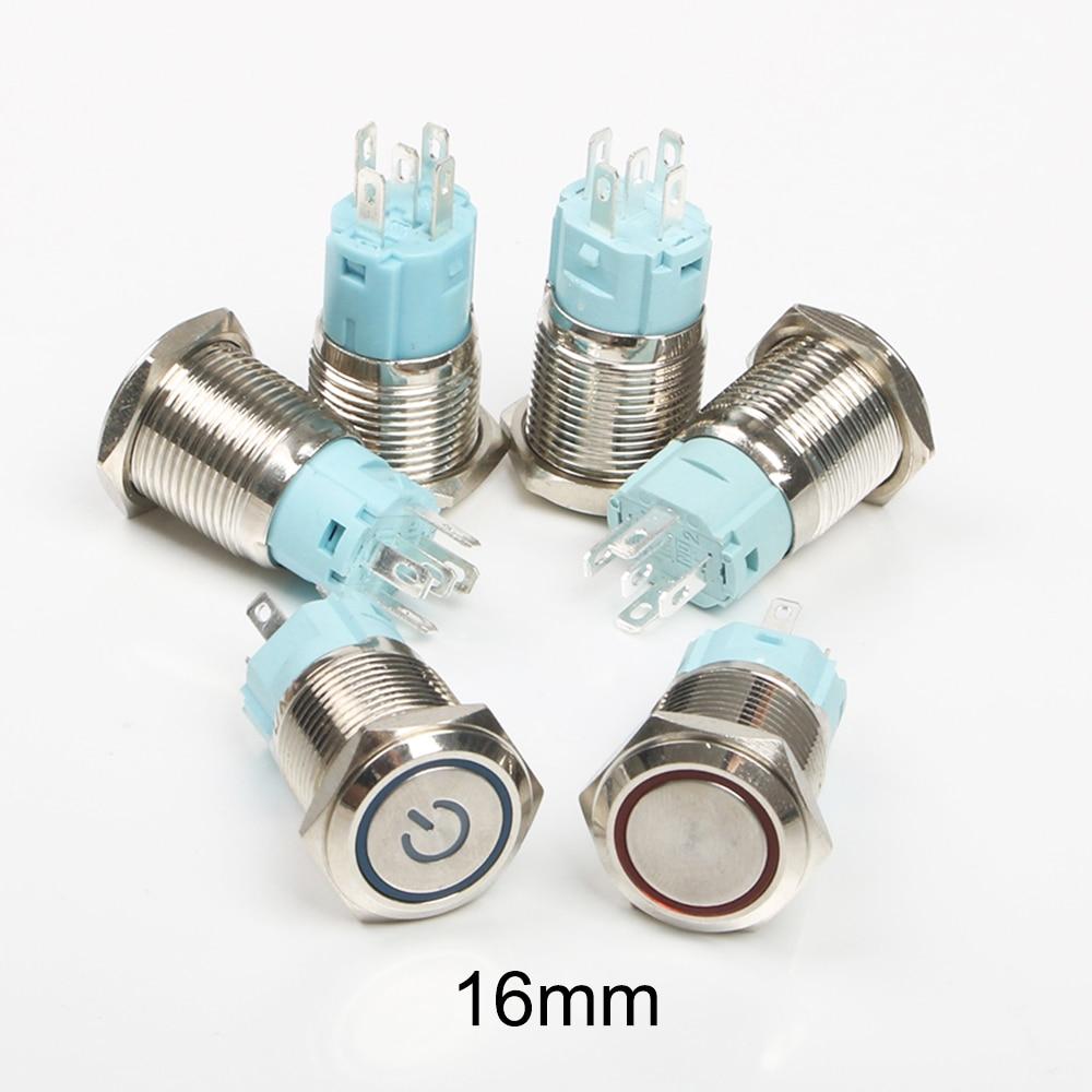 Водонепроницаемый светодиодный металлический кнопочный переключатель, 16 мм, фиксация, плоское кольцо 1NO1NC ВКЛ./ВЫКЛ., 6 в, 12 В, 24 В, 220 В