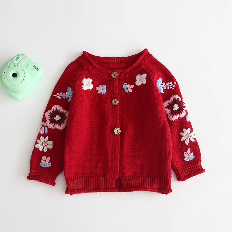 Autumn Winter Embroidered Flowers Knitting Cardigan Sweater Baby Girls Virgins  Sweater Coat Buttons Kids