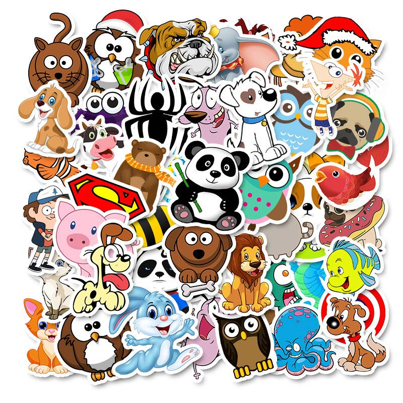 50pcs Animal Stickers Pack For On The Laptop Fridge Phone Skateboard Travel Suitcase Cute Cartoon Sticker
