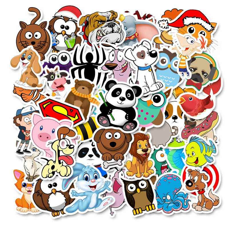 50pcs Cartoon Animal Waterproof Stickers Laptop Skateboard Refrigerator DS/_ecSFN