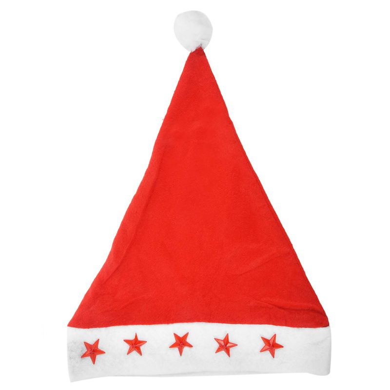 New Santa Hat With Flashing Lights Adult Size - Light Up Christmas Hat