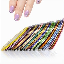 30Pcs mix color rolls striping tape metallic yarn line nail art sticker decal decoration 4964 (Color:Multicolor) цена