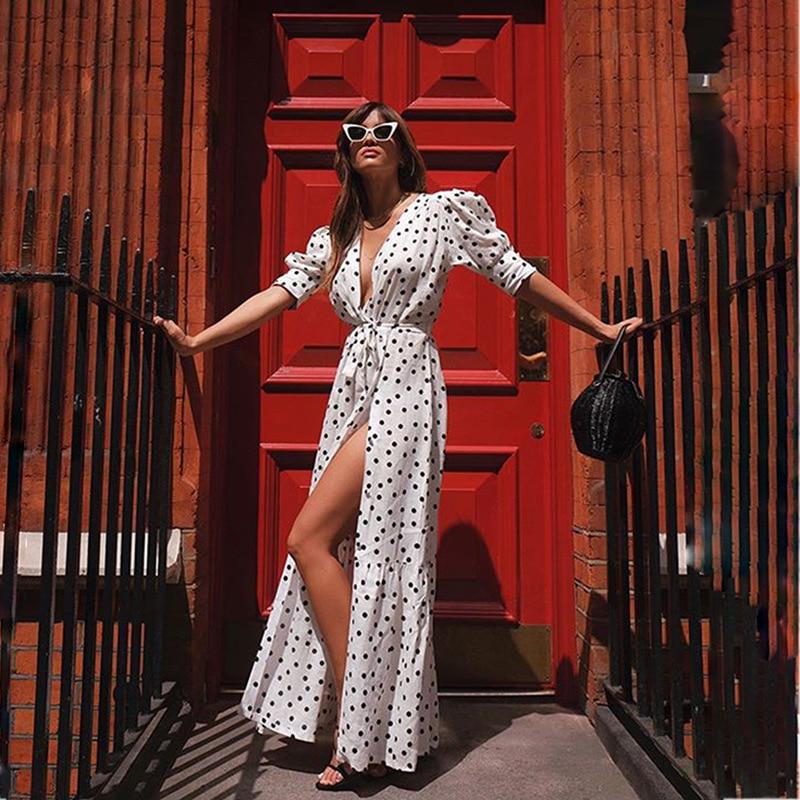 Zaraing Style Woman 2020 New Bohemian Maxi Dress Spring And Summer Vestidos Boho Polka Dot Cardigan Sexy Elegant Fashion Chic