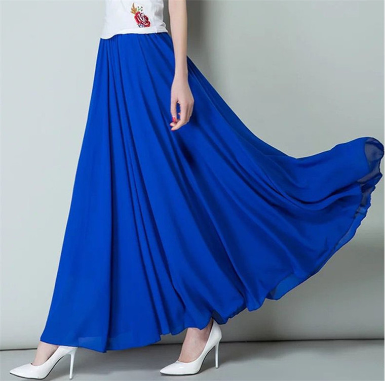 M-7XL Plus Size Spring Autumn Women High Waist Pleated Maxi Long Chiffon Skirt Brand Summer Party Skirts Black Pink White Purple