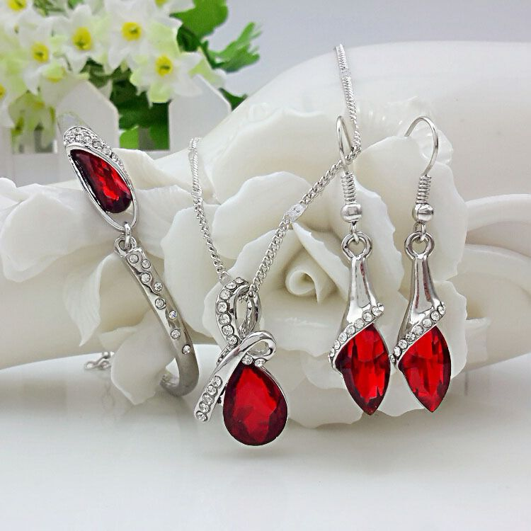 Women's 925 Sterling Silver Necklace Earrings Set Gift S0101 Beautiful Water Drop Austrian Crystal Bridal Wedding Jewelry Set,