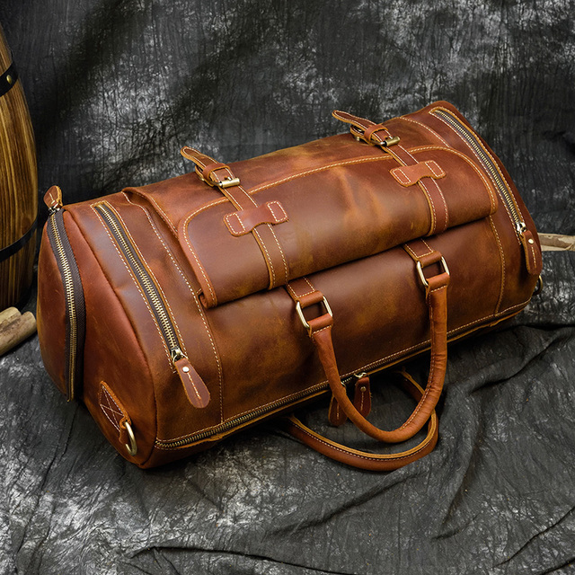 MAHEU Fashion Handbags For Men Genuine Leather Travel Duffles Travelling Shoulder Laptop Bags Real Cow Skin Hand Luggage Bags 4
