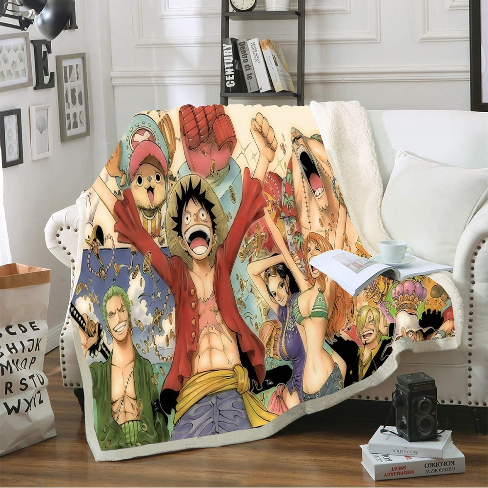 Custom One Piece Sherpa Fleece Super Soft Blanket for Home Travel 3D Print Anime Character Coral Blanket for Boy Girls 150x200cm