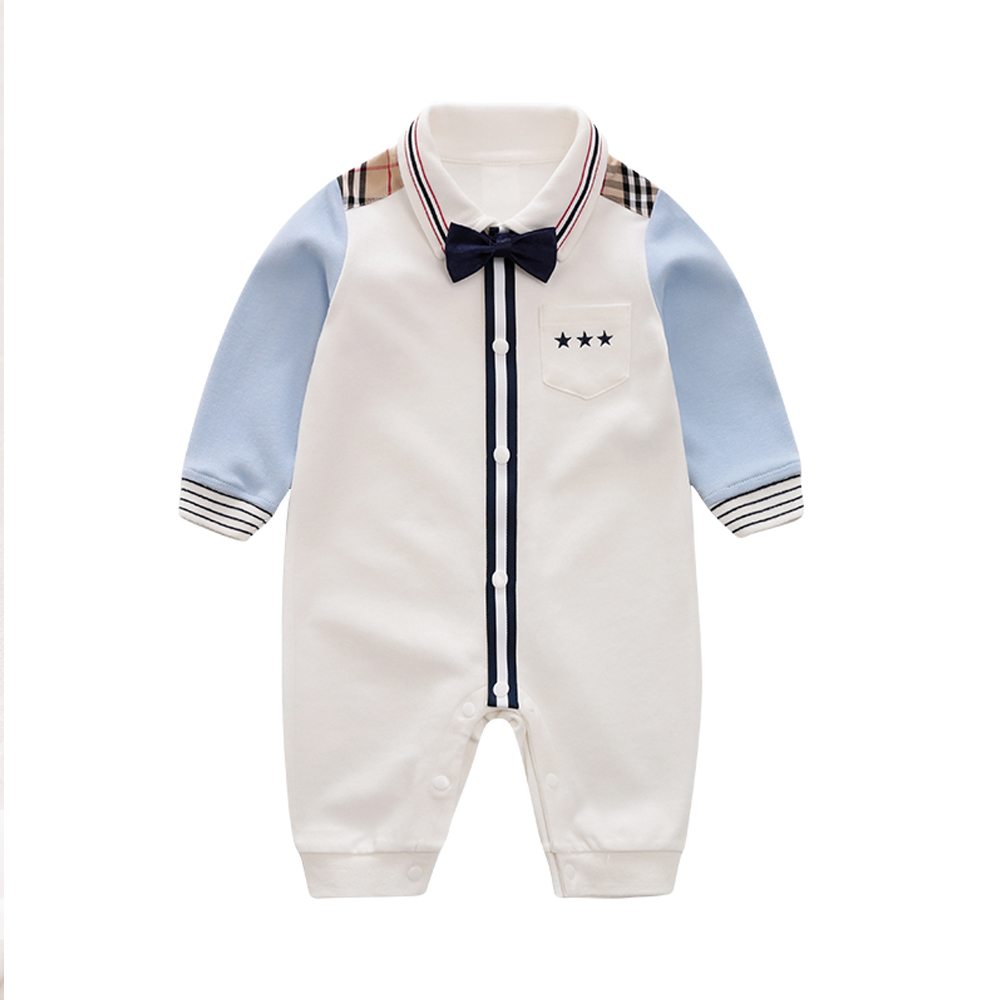 YiErYing Baby Casual Romper Boy Gentleman Style Onesie For Autumn Baby Jumpsuit  100% Cotton