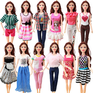 5 set Handmade Fashion Outfit Daily Casual Wear Blouse Shirt Vest Bottom Pants Skirt Clothes For Barbie Doll Accessories Toy