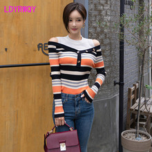 2019 autumn and winter new Korean temperament leaking shoulder Slim stitching stripe bottoming womens knitted sweater