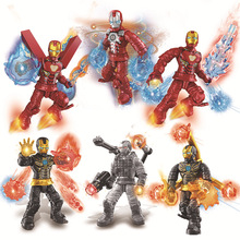 6pcs/lot Marvel Super Heroes Building Bricks Blocks Avengers 4 Rescuer Iron Man Series Figures  Kids Gift Toys For Children