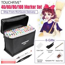 Touchfive маркер ручка набор 40/60/80/168 Цвет анимация маркер для рисования с двумя головками рисунок художественная кисть ручки на спиртовой основе с 6 подарки