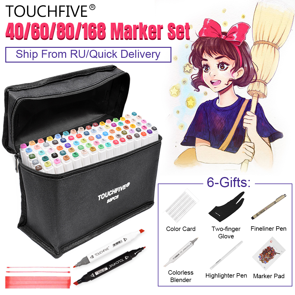Touchfive Markers Pen Set 40/60/80/168 Color Animation Sketch Marker Dual Head Drawing Art Brush Pens Alcohol Based with 6 Gifts