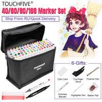 Touchfive marcadores de la pluma/40/60/80/168 Color animación Sketch marcador de doble cabeza de arte dibujo cepillo bolígrafos a base de Alcohol con 6 regalos