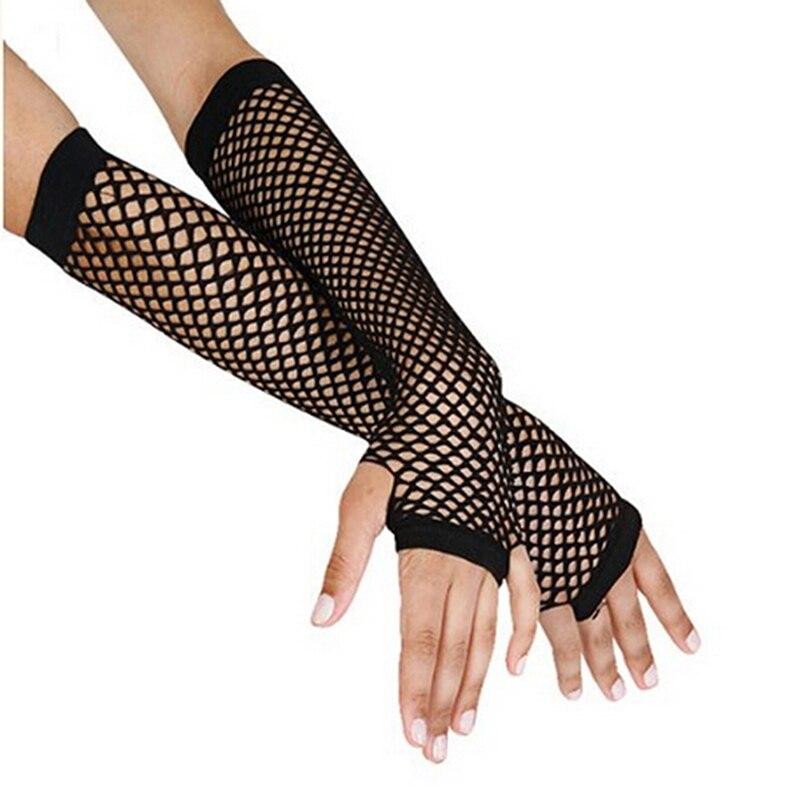 Stylish Long Black Fishnet Gloves Womens Fingerless Gloves Girls Dance Gothic Punk Rock Costume Fancy Gloves 859444