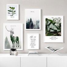 Nordic Bos Landschap Plant Scandinavische Canvas Poster Abstract Herten Muur Art Print Schilderij Muur Foto S voor Woonkamer