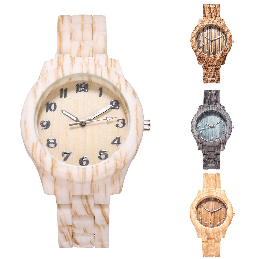 Durable Wooden Grain Stylish Round Dial Watch Ladies Arabic Number Resin Band Analog Quartz Wrist Watch Women Женские часы