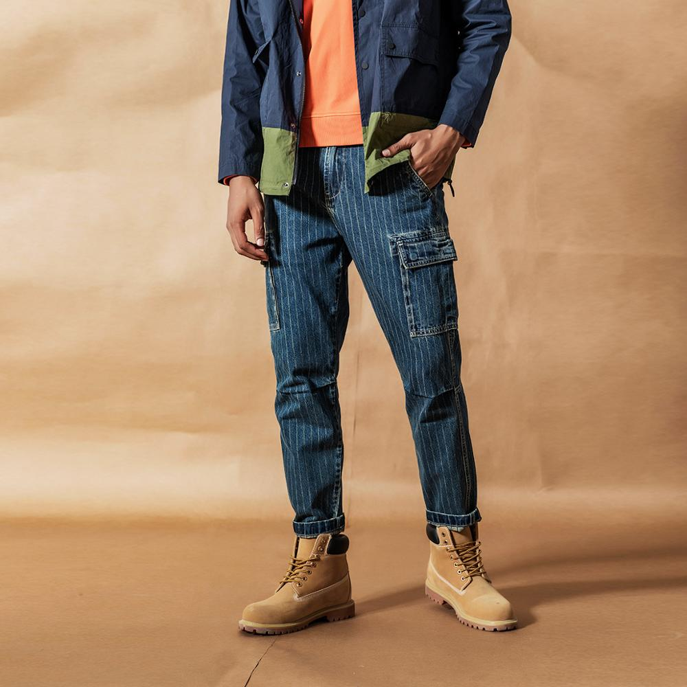 SIMWOOD Cargo Jeans Men Vintage Paneled Fashion Hip Hop Vertical Stripes Streetwear Washed 100% Cotton Ankle-length Pants 190405