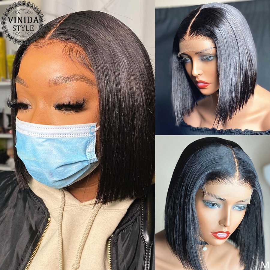 VINIDA STYLE Bob 150% Density Lace Front Human Hair With Baby Hair Wigs Scalp Top Closure Wigs Non-Remy