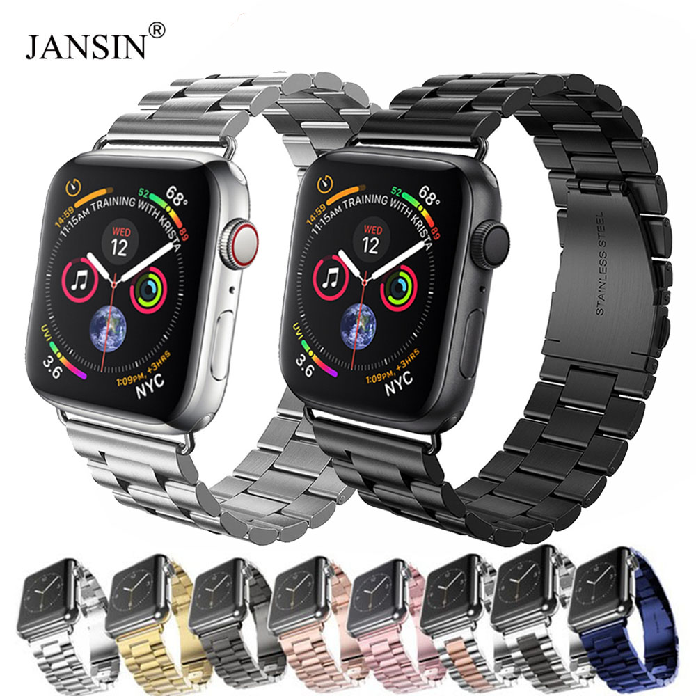 JANSIN Luxury Stainless Steel Strap For Apple Watch Band 42mm 38mm 44mm 40mm Bracelet Pulseira Band For Iwatch Series 5 4 3 2 1