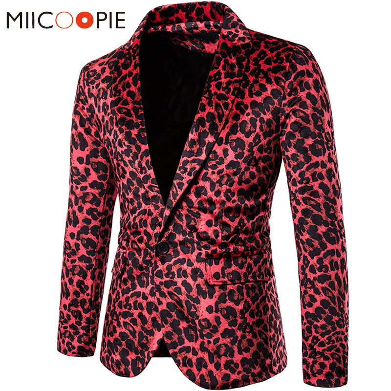 Sexy Pink Mens Leopard Blazer Masculino 2019 Snake Skin Print Stage Costumes For Singers Mens Blazers Casual One Button Jacket