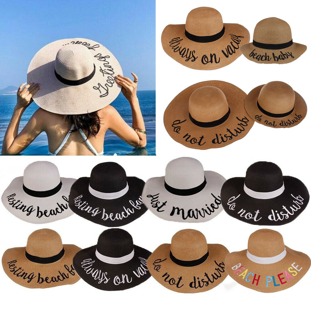 Women Summer Big Wide Brim Straw Hat Floppy Derby Beach Sun Foldable Roll Up Cap Cursive Embroidered Adjustable Beach Sun Hat