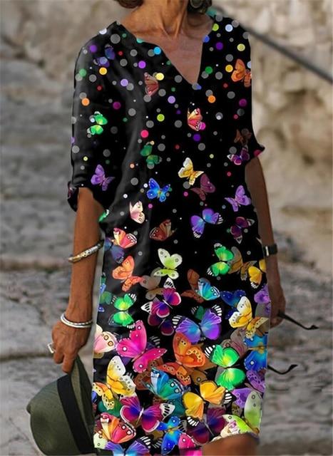 Fashion casual dress large size loose dress temperamental mid-sleeve dress 5