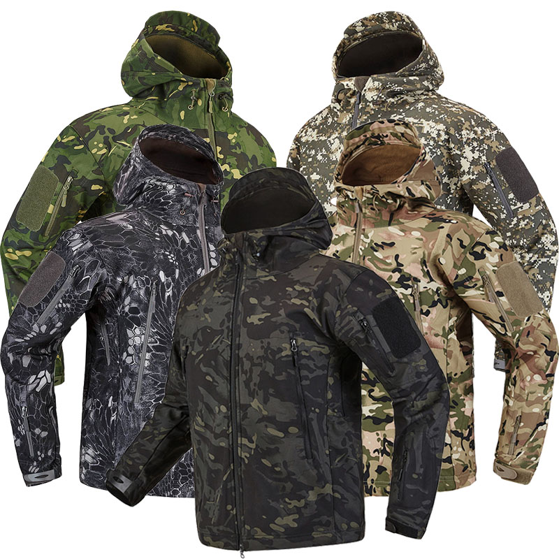 Autumn Outdoor Men's Military Camouflage Fleece Jacket Army Tactical Clothing Male Camouflage Hiking Hiking Jackets Windbreakers