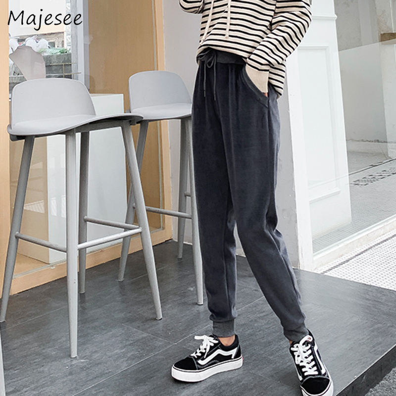 Pants Women Large Size 3XL Plush Solid Harem Simple Loose Winter Thicker All-match Korean Style Womens Trousers Chic Harajuku