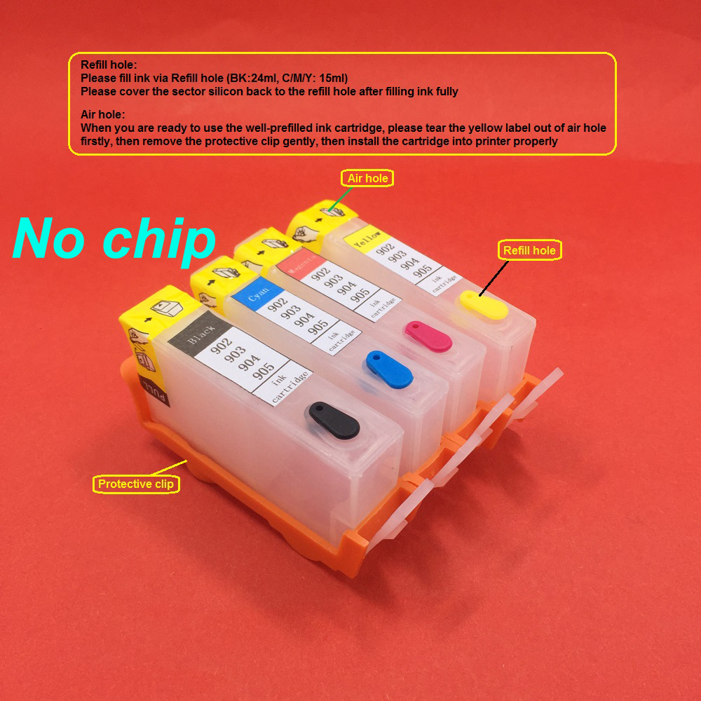 YOTAT (without chip) 1set <font><b>refillable</b></font> ink cartridge For <font><b>HP</b></font> 902 <font><b>HP</b></font> <font><b>903</b></font> hp904 hp905 for HP902 HP903 OfficeJet 6950 6956 6960 6970 image