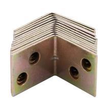 12 pçs ângulo de canto suportes fixadores protetor prateleira metal suporte 90 graus ângulo direito suporte latão tom mobiliário ferragem