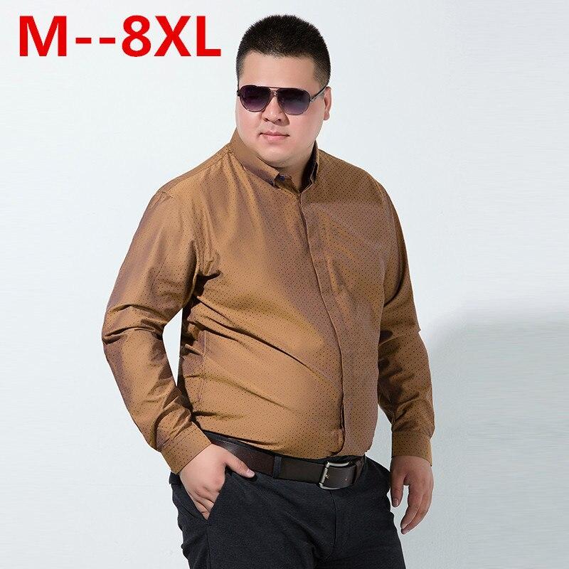 10XL 8XL 6X Men Casual Long Sleeved Printed Shirt Loose Fit Male Social Business Dress Shirt Brand Men Clothing Soft Comfortable
