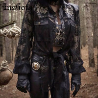 InsGoth Women PU Leather Jacket Gothic SKull Embroidery Coat Leather Patchwork Hollow Out Lace Up Goth Punk Party Vintage Coat