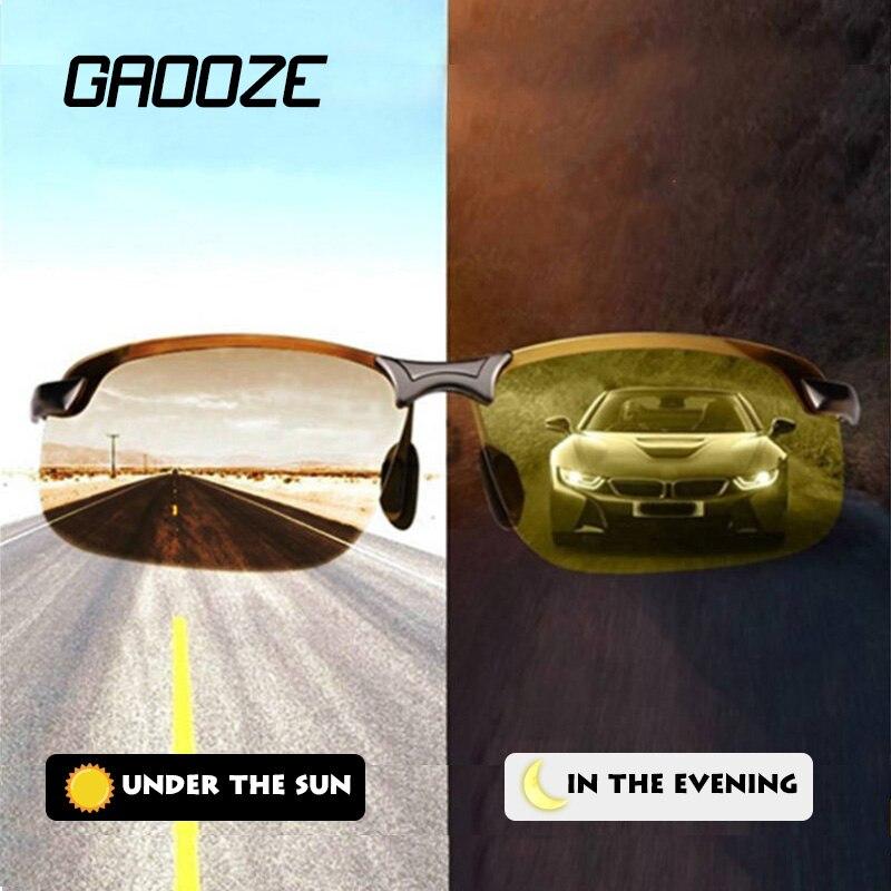 GAOOZE 2020 поляризационные фотохромные солнцезащитные очки для мужчин, очки для водителей, очки дневного и ночного видения, овальные очки для в...