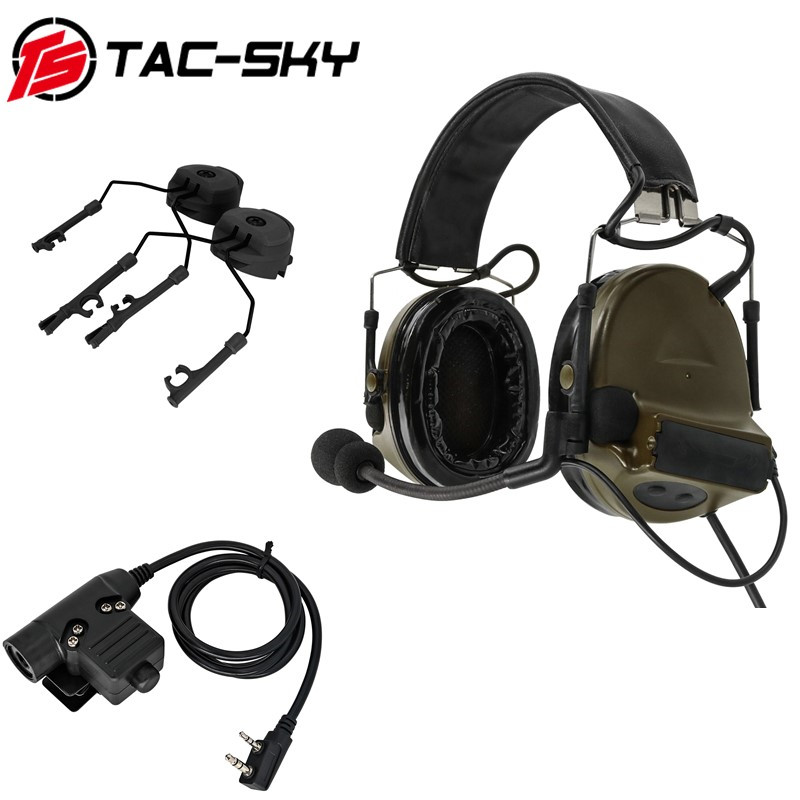 TAC-SKY COMTAC II Silicone Earmuffs Tactical Headset+U94 PTT Kenwood Plug+ARC OPS-CORE Helmet Track Adapter Headphone Bracket FG