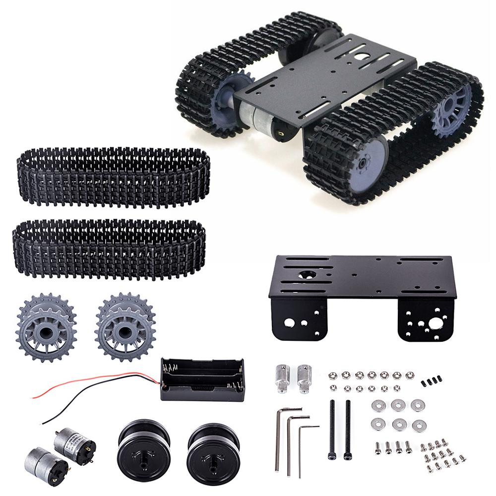 TP101 High Tech Tracked Robot Smart Car Platform DIY Metal Robot Tank Crawler Chassis Platform Kit For Arduino - Silver